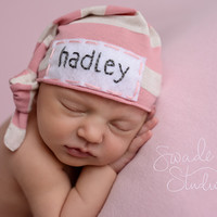 Newborn name hat- baby hats for girls - personalized baby gift - girl hospital hat - baby girl beanie - name hat