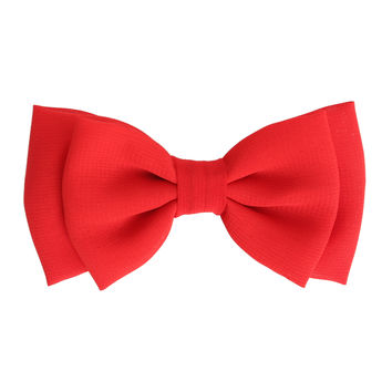 Solid Red Chiffon Hair Bow