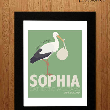 Nursery Art - Personalized Nursery Art - Instant Download - Stork