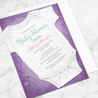 Bodysuit Baby Shower Invitations Girl - Design in Purple with Infant Bodysuit and Safety Pins - Printed Invitations