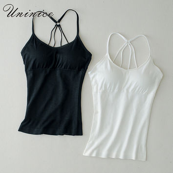 UNINICE Solid Shirt Women Tank Top Slim Korean Style Black White Camisole Tank Loose Backless Crop Top Skulls for Girls Hot