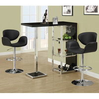 Monarch Specialties 2342 3 Piece Glossy Black Bar Table Set w/ 2318 Barstools