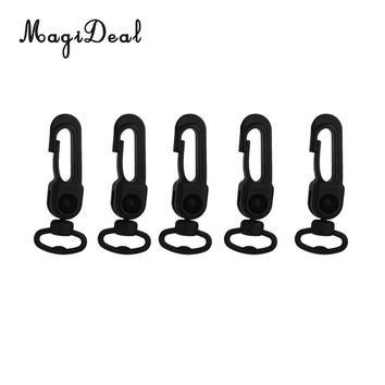 MagiDeal 5pcs Rotatable Black Plastic Snap Clip Carabiners Hanging Hooks Keychain