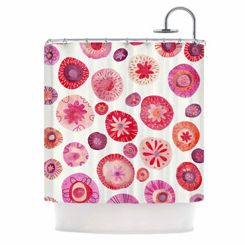 """Nic Squirrell """"All The Flowers"""" Pink Red Shower Curtain"""