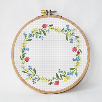 flowers cross stitch pattern Wildflowers floral wreath cross stitch modern Round cross stitch pillow Counted cross stitch diy gift