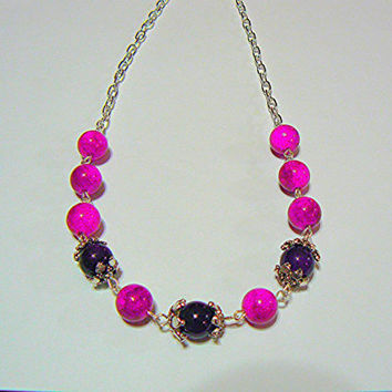 Amethyst Dyed Quartz and Silver Plated Necklace, Handmade