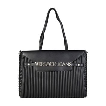 New! Versace Jeans black stripe texture shopping bag