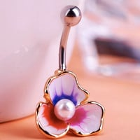 Illuminati Esmaltes Enemal Pearl Flower Piercing Navel Belly Button Rings Body Piercing