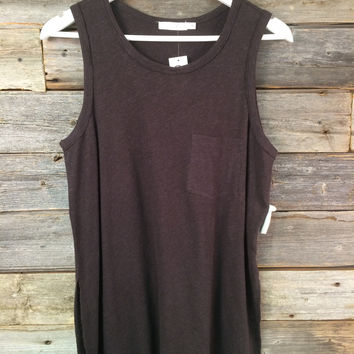 POCKET TANK TOP - CHARCOAL
