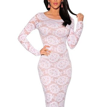 White Floral Lace Nude Illusion Long Sleeves Midi Dress