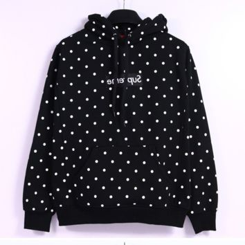 Supreme Polka Dots Black Hooded Pullover Sweatshirt