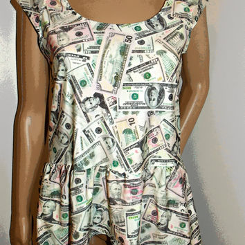 money print top high low with cap sleeves