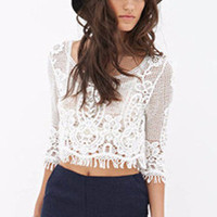 Lace V-Neck Half Sleeve Cropped Top