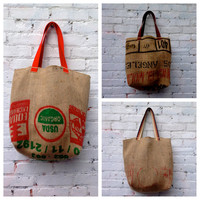 Coffee Bean Sack Farmers Market Grocery Tote Bag / Coffee Sack Tote / Upcycled Market Bag / Recycled Grocery Tote / Market Tote / Vegan Tote