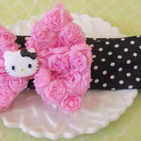 Hello Kitty Pink Rosette Flowered Black and white Polka Dot Headband Hair Band