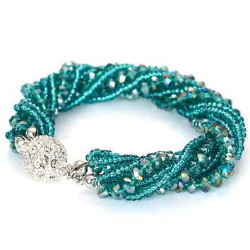 Fashion Multiple Layer Strands Crystal Seed Beads Charm Magnetic Bracelets Summer Jewelry B1470