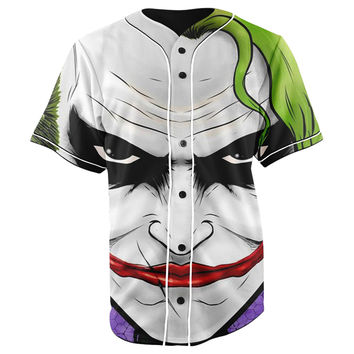The Joker Batman White Button Up Baseball Jersey