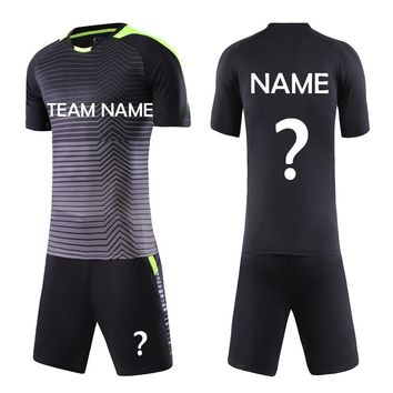 Free Shipping New 2018 Nice Black Stripe Design Soccer Uniform Can Customized Soccer Jerseys Football Kit Games Team Shirts Sets