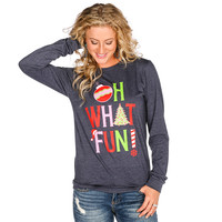 Women's ATX Mafia Oh What Fun Navy Long Sleeve Tee