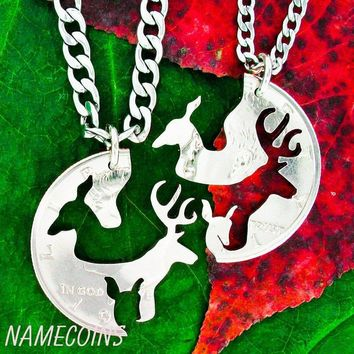 Family Deer Necklace set, Buck Doe and Fawn hand cut half dollar by NameCoins