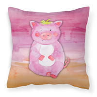 Pig Watercolor Fabric Decorative Pillow BB7416PW1818