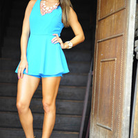 Better Together Romper: Aqua | Hope's