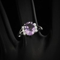Amethyst and 14k gold plated Silver Ring size 6.75