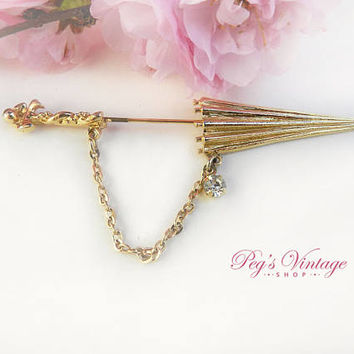 Vintage PARASOL Umbrella Hat Pin / Stick Pin, Gold Tone Brooch