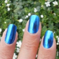 Metallic Blue Nail Foil Wraps polish strips stickers for Fingers and Toes by Miss Silver