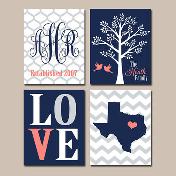 FAMILY Wall Art Canvas or Prints Married Couples Custom TREE Birds Chevron STATE Monogram Love Est Date Wedding Gift Set of 4 Home Decor