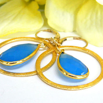 Blue and Gold Gemstone Earrings Handcrafted Dangle Short Chalcedony