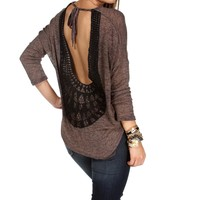 Sale-chocolate Crochet Trim Back Dolman Top