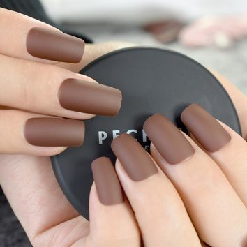 24pcs Chocolate Brown Finished Nail Tips Square Medium Full Cover Acrylic Fake Nails Matte Design Kit Manicure Accessories Z767