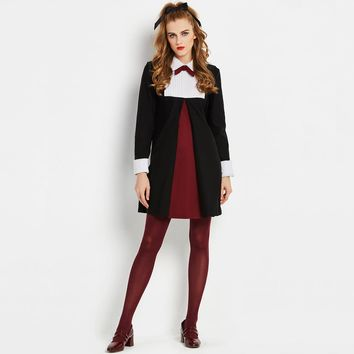 Sisjuly Office Women Uniform Mini Dress Long Sleeve Bowtie Turn Down Collar Work Lady Black White Red Patchwork Dresses