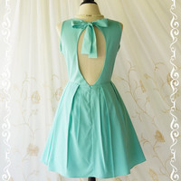 Alice In Wonderland II - Adorable Mint Blue Dress Cut Off Back Sundress Party Dress Spring Summer Sundress Blue Bridesmaid Dresses XS-XL