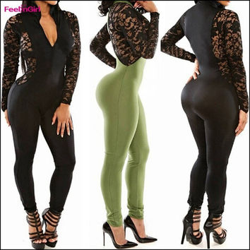 fcbd8644d40e FeelinGirl Opening Front Sexy Lace Close-fitting Jumpsuit New Fashion  Overalls Deep V-Neck