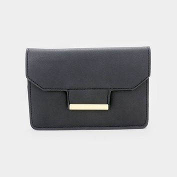 Leather Gold Detail Clutch Crossbody Bag (Click For More Colors)