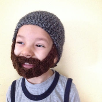 Handmade Crochet Beard hat, beard beanie. Black and gray mixed hat with brown beard, beard hat, men beard hat, baby beard hat