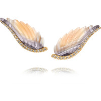 Noor Fares | Wing 18-karat gold, agate and diamond earrings | NET-A-PORTER.COM