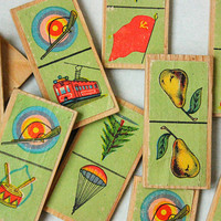 1950's USSR Dominoes / Mini Set of Wooden Picture Dominos, Vintage Communist Propaganda Illustrations: Paratrooper, Red Flag, Bulls Eye