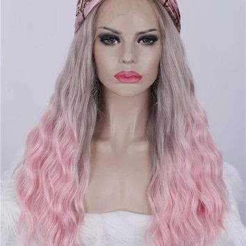 Long Grey To Cherry Pink Ombre Wave Synthetic Lace Front Wig