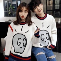 SPBEST GG brand white and black sweater