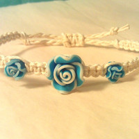 Blue Roses with Natural Hemp Bracelet