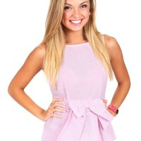 True Romance Pink Seersucker Peplum Top | Monday Dress Boutique