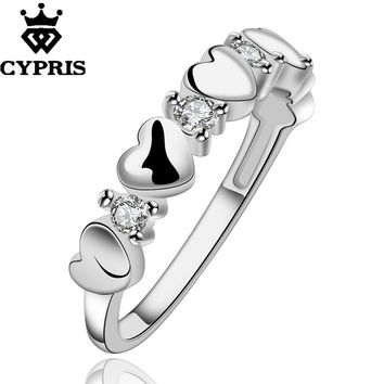 2017 R600 silver new design finger ring lady Heart Crystal Cute chic lovely engagement wedding gift ring unique chic CYPRIS Fine