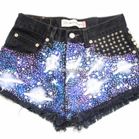 Galaxy High Waisted Denim Shorts, Hand Painted Daisy Dukes, Coachella Music Festival Shorts, Studded Galaxy Shorts, Hipster Tumblr Fashion