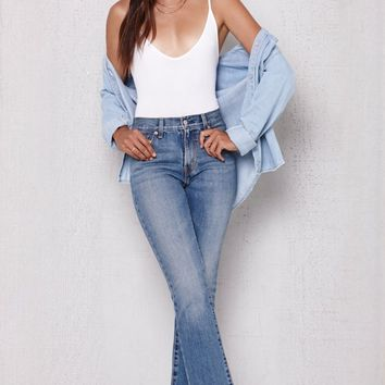 High Rise Kick Flare Frayed Jeans