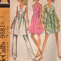 McCall's Retro Vintage 1960s Sewing Pattern 9581 High Fashion Tie Wrap Front Dress Party Disco Style Wide Leg Pants Bust 34