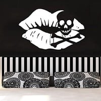 Wall Decals Kiss Lips Makeup Girl Woman Cosmetic Vinyl Sticker Decal Skull Living Room Spa Beauty Salon Bedroom Decor C612