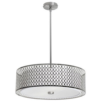 Dainolite 1015-22P-SC Dinette Three Light Pendant with Laser Cut Shade and Glass Diffuser